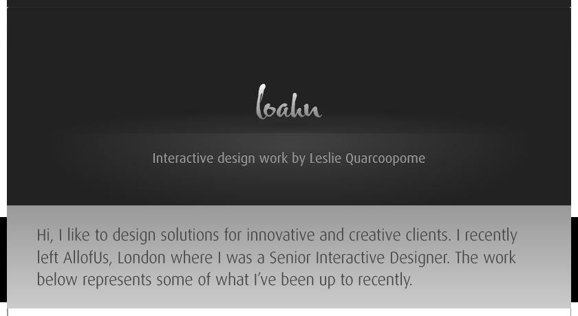 Interactive Design Work by Leslie Quarcoopome, London UK